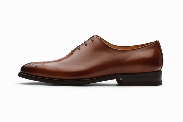 Wholecut Oxford Leather Shoes - Cognac