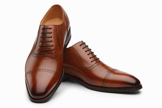 Semi Brogue Oxford Leather Shoes - Cognac