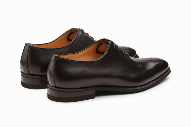 Wholecut Oxford Leather Shoes - Black