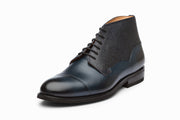 Scotch Grain Toecap Leather Boots - Navy