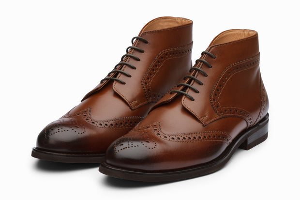 Wingtip Brogue Boots - Brown
