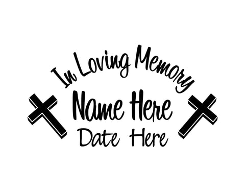 In Loving Memory Decal with Cross