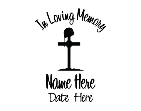 In Loving Memory Decal with Military Cross