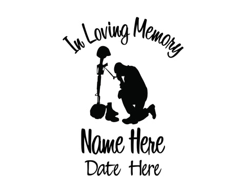 In Loving Memory Decal with Military Solider