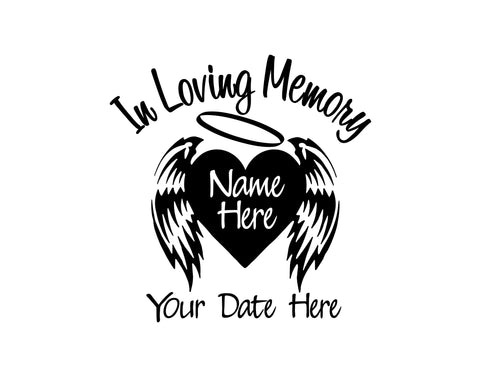 In Loving Memory Decal with Heart and Wings