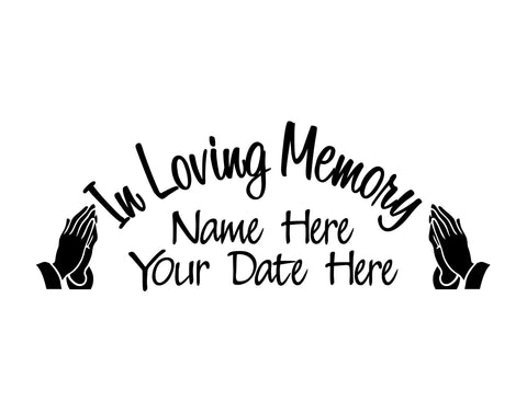 In Loving Memory Decal with Praying Hands
