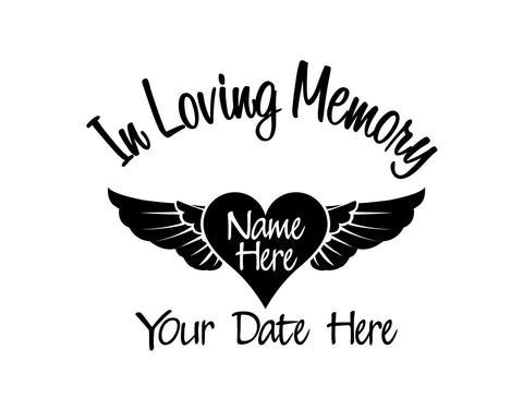 In Loving Memory with Heart and Wings Decal