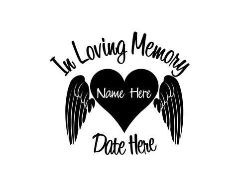 In Loving Memory Decal with Heart and Angel Wings