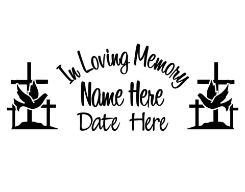 In Loving Memory Dove and Cross Decal