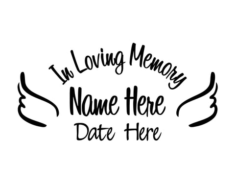 In Loving Memory Decal with Angel Wings