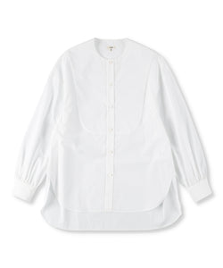 GIZA Cotton Poplin Collarless Shirt (Women)