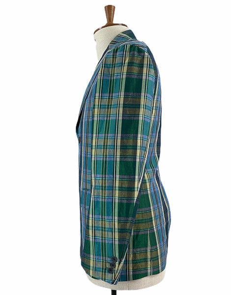 1120-41074 Cotton and Linen Blend Plaid Slouch Blazer (Men)