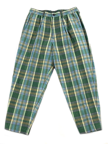 1120-81073 Cotton and Linen Blend Plaid Drawstring Trousers