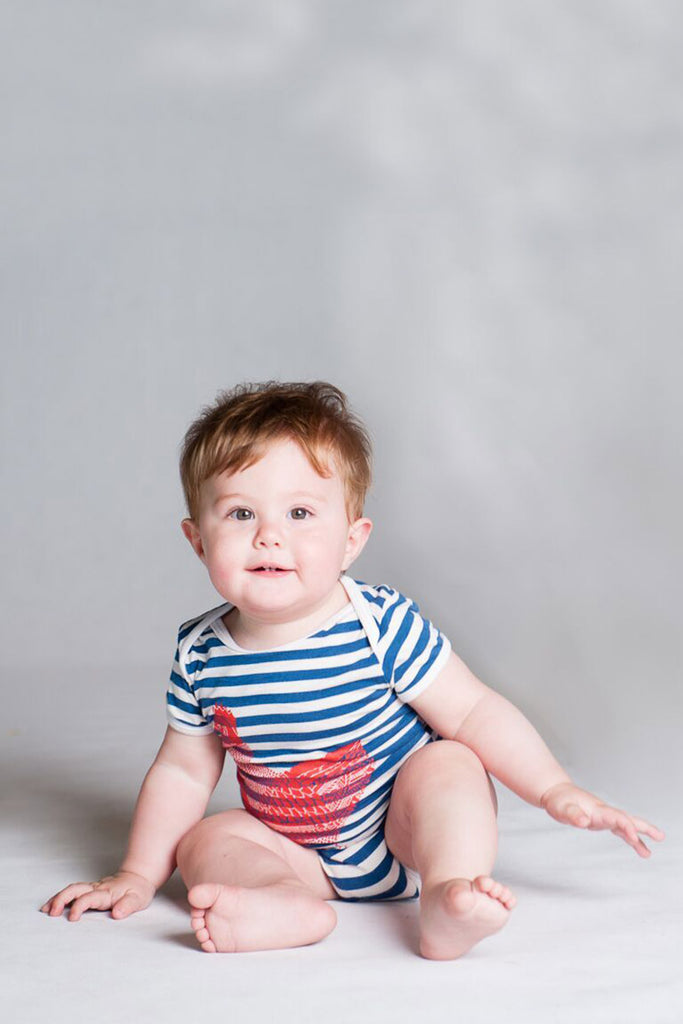 Blue Stripe Red Chook Onesie