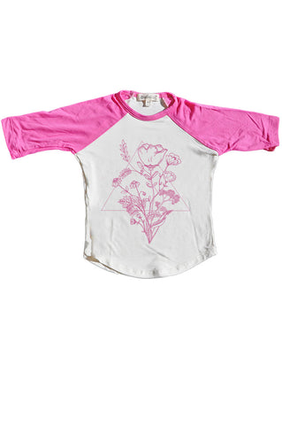 Bamboo Baseball Tee, Triangle botanics in Rose
