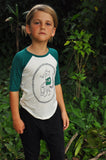 Bamboo Baseball Tee, Skate or Die Fox in Forest green