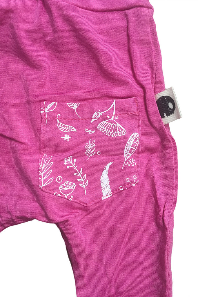 Babies Bamboo Skinnies, Rose with botanical pocket