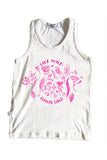 White Racer Back Bamboo singlet, Flower Child