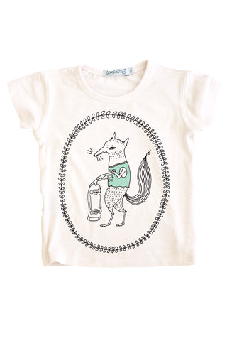 Bamboo Tee, White Skate or Die Fox
