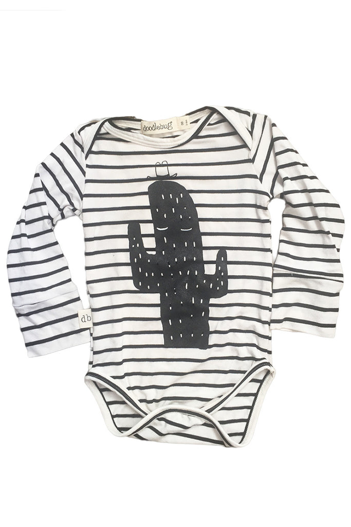 Long sleeve Stripy Cactus bamboo onesie