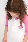 Button down Baseball Tee, Pink