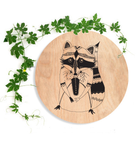 Racoon Circle Wall Plaque