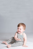 Black and white stripe overalls