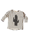 Stripy Cactus Sloppy Top, Black & White