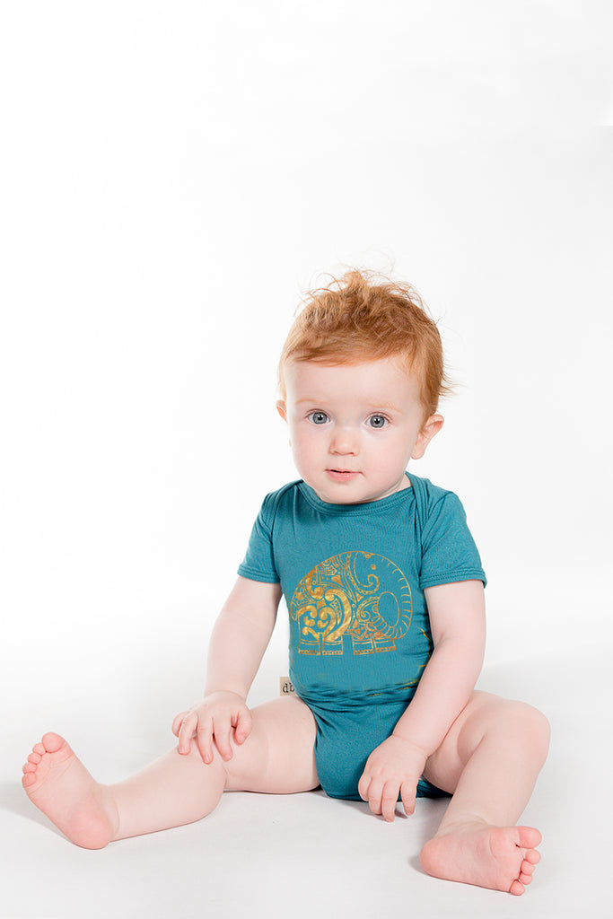 Teal and Glittering Gold Elephant Onesie