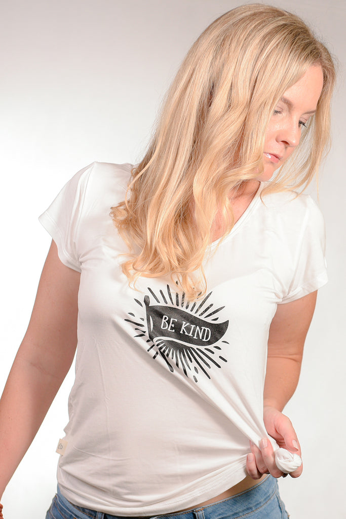 Ladies Tee, White Be Kind