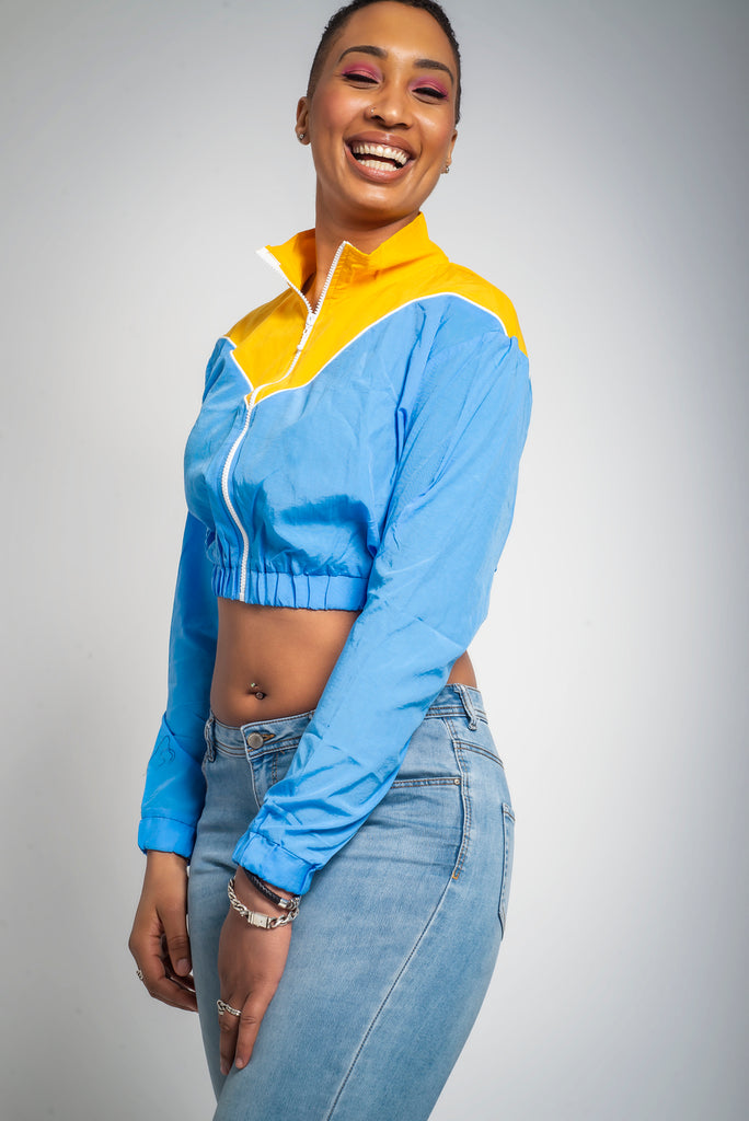 Retro Crop Blue/Yellow