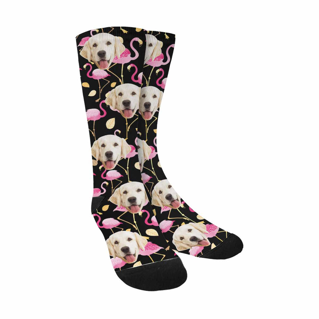 Personalized Picture Pink Flamingos Pup Socks, Black Background