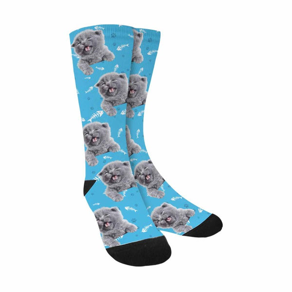 Custom Cat Socks Fish Bones and Paws