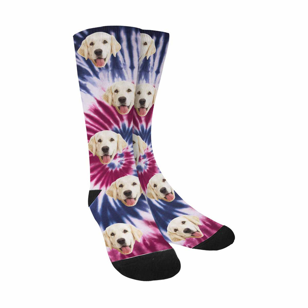 Personalized Picture Tie Dye Pup Socks