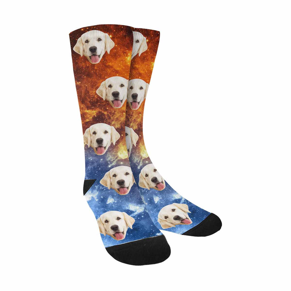 Personalized Picture Galaxy Pup Socks, Contrast of Color