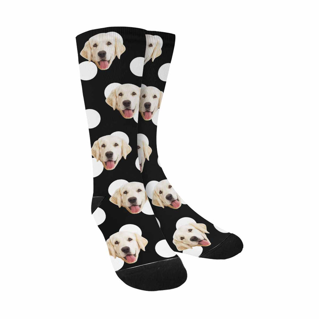 Personalized Picture Big Polka Dot Pup Socks