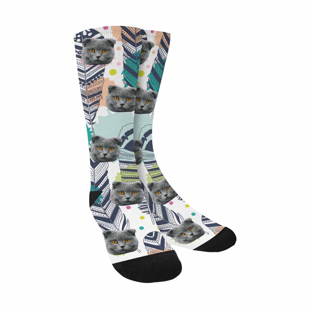 Custom Photo Ethnic Feathers Cat Face Socks