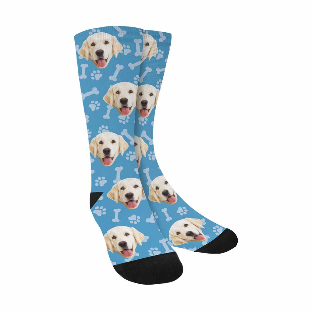 Custom Printed Picture Animal Paw Prints Bones Pup Socks