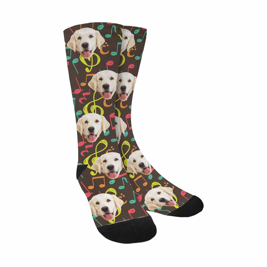 Custom Picture Music Note Pup Socks