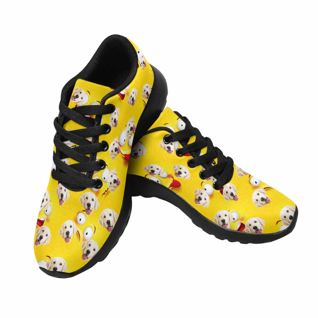 Custom Printed Photo Smiley Face Dog Women's Running Shoes Yellow Background