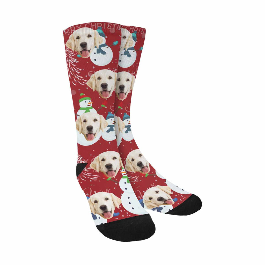 Custom Printed Photo Christmas Pup Socks, Tree Snowman and Snowflakes