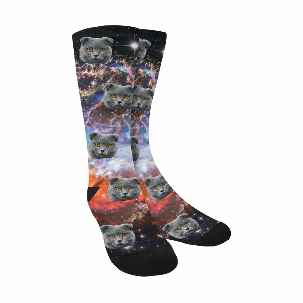 Personalized Photo Mystic Mountain in Outer Space Cat Face Socks