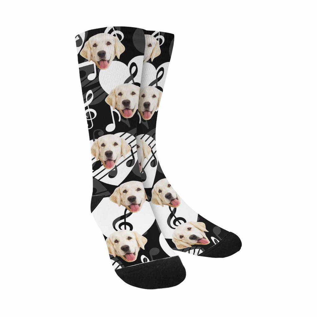 Custom Printed Clef and Music Notes Photo Pet Socks, Heart