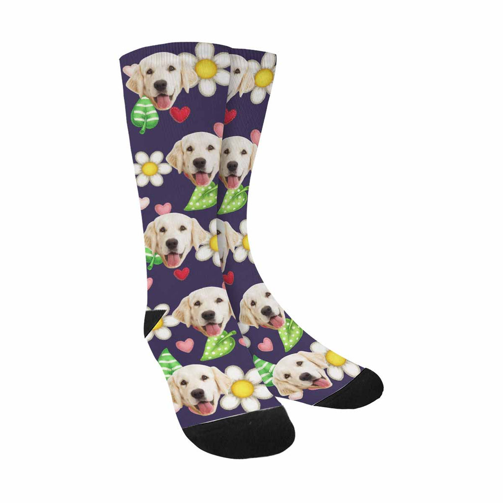 Custom Printed Photo Flower Pup Socks, Daisy, Leaves And Heart