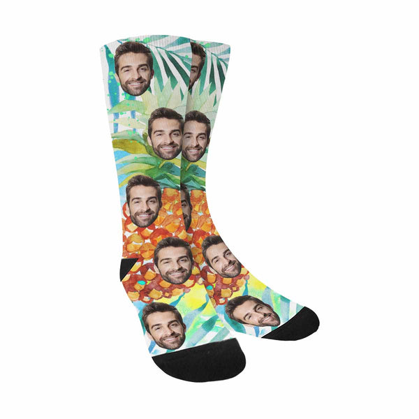 Custom Printed Pineapples Photo Face Socks