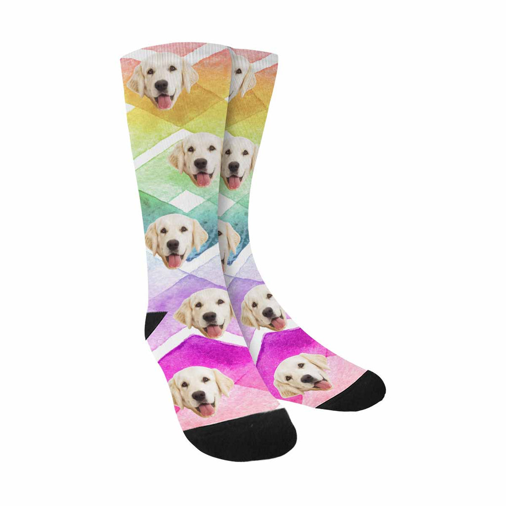 Custom Photo Zig Zag Pup Socks, Rainbow Colors