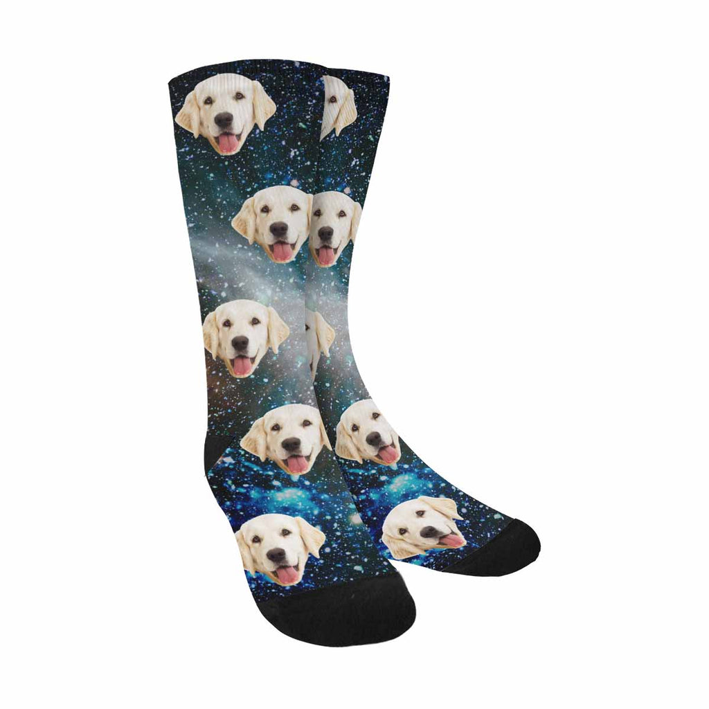Custom Printed Galaxies Planets and Stars Photo Pup Socks