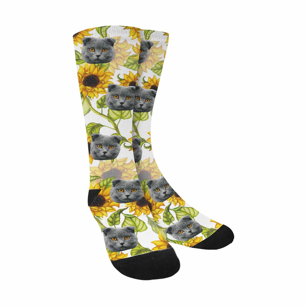 Custom Printed Photo Sunflower Pet Socks