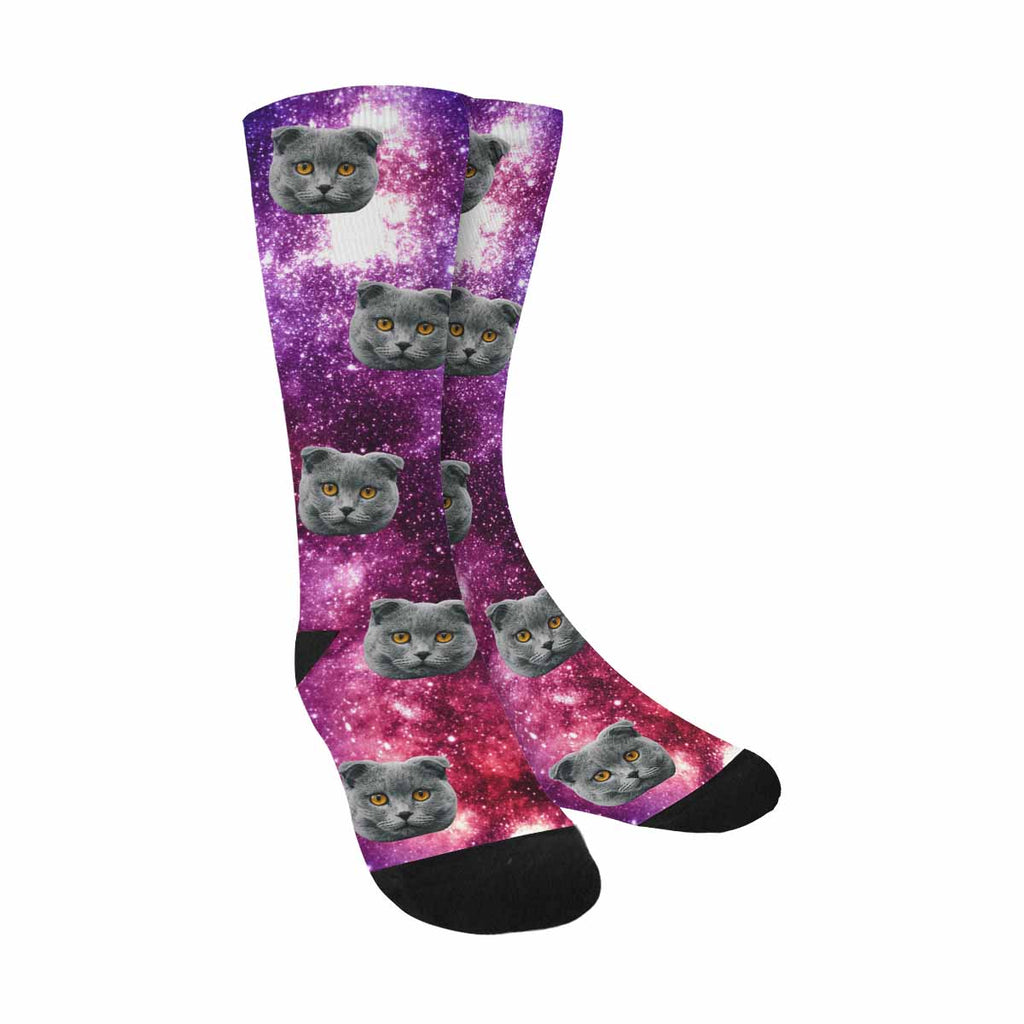 Personalized Picture Colorful Galaxy Pet Socks