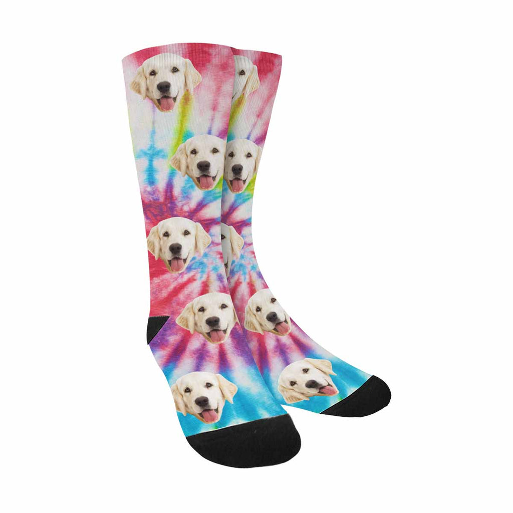 Custom Printed Photo Tie Dye Dog Socks